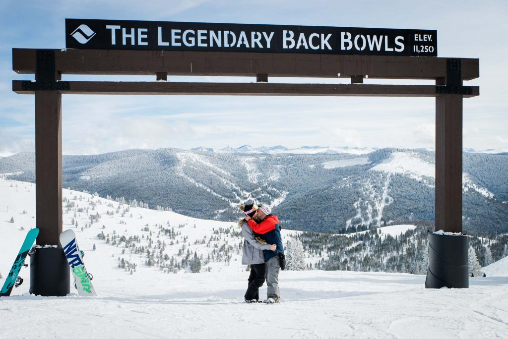 Colorado Snowboarding Engagement Photography in Vail