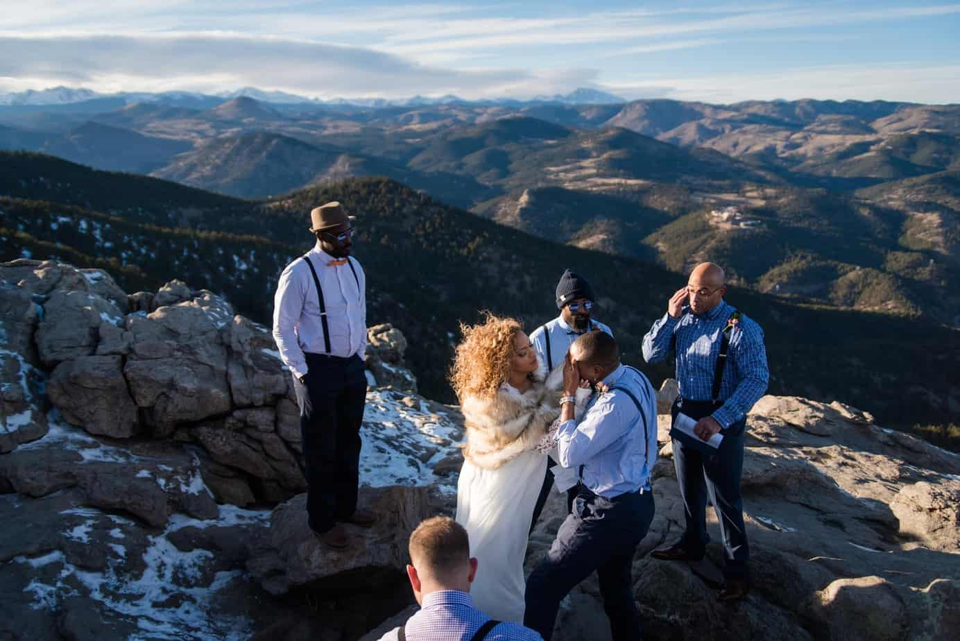 Mountain top elopement with friends in Boulder, Colorado