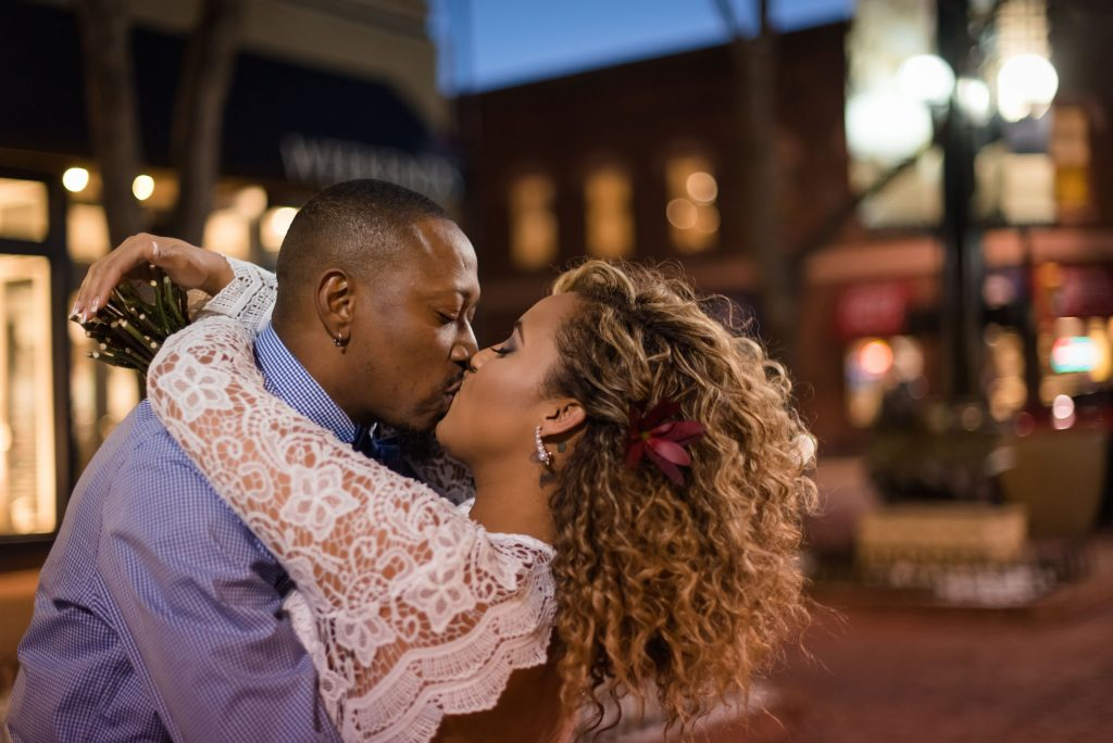 A couple elopes in Boulder, Colorado and celebrates on Pearl Street