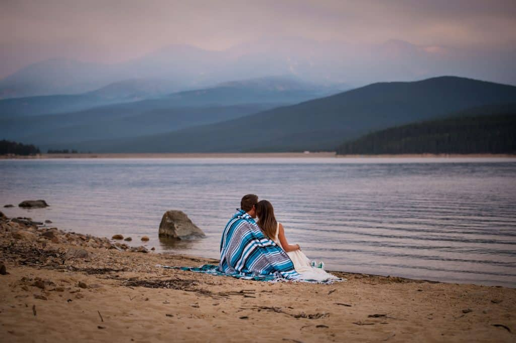 Colorado mountain elopement location with a beach