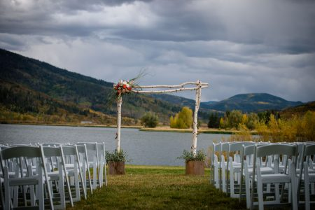 Wedding ceremony site set up at Catamount Ranch and Club lakeside site